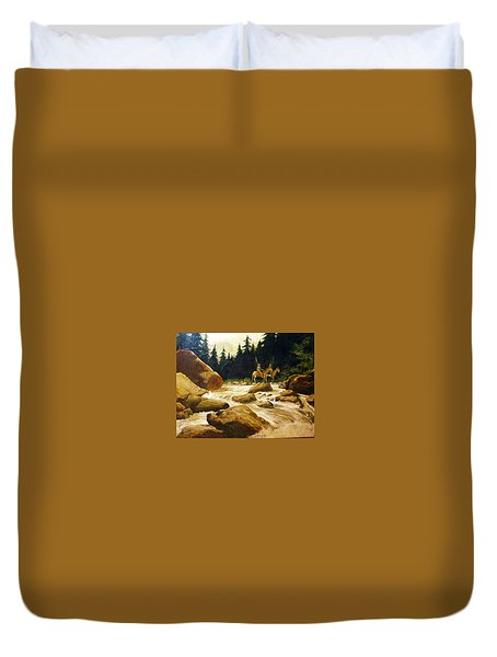 2 Braves By A River Duvet Cover