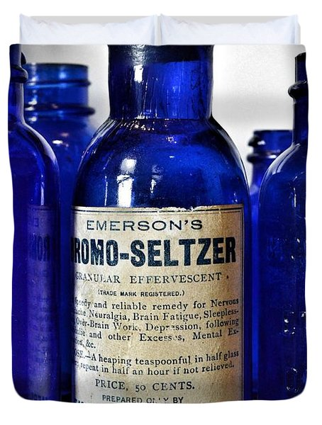 Bromo Seltzer Vintage Glass Bottles Collection Duvet Cover