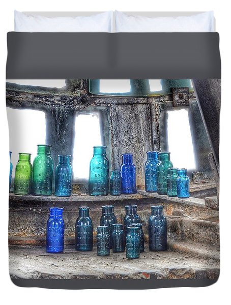 Bromo Seltzer Vintage Glass Bottles  Duvet Cover