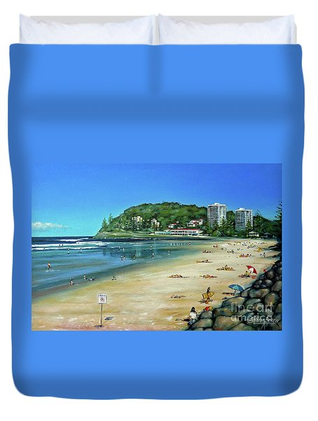 Duvet Cover featuring the painting Burleigh Beach 100910 by Selena Boron