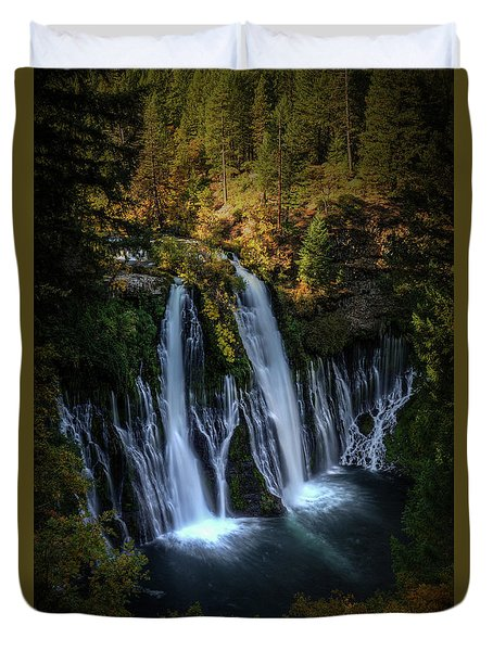 Duvet Cover featuring the photograph Burney Falls by Kelly Wade