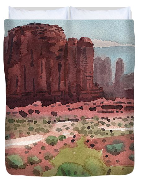 Duvet Cover featuring the painting Buttes And Mesas by Donald Maier
