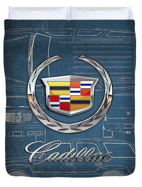 Cadillac 3 D Badge Over Cadillac Escalade Blueprint  Duvet Cover by Serge Averbukh