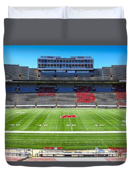 Camp Randall Uw Madison Duvet Cover by Chris Smith