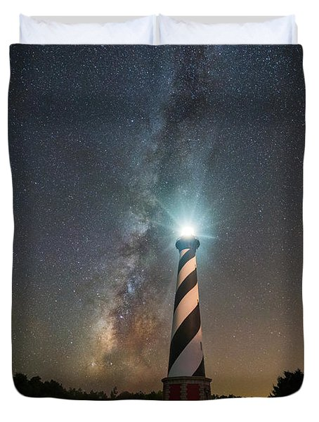 Cape Hatteras Lighthouse Milky Way Duvet Cover by Michael Ver Sprill