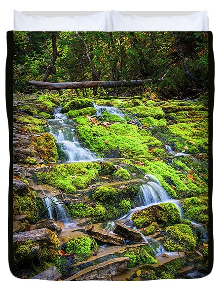 Duvet Cover featuring the photograph Cascading Waterfall by Elena Elisseeva