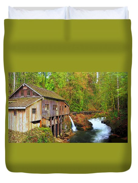Cedar Creek Grist Mill Duvet Cover by Steve Warnstaff