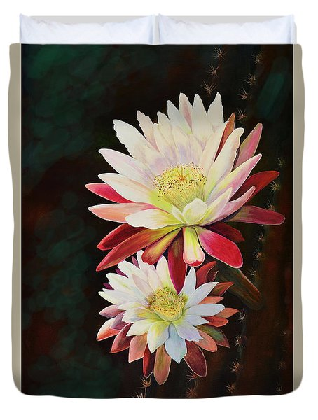 Duvet Cover featuring the painting Cereus Business by Marilyn Smith