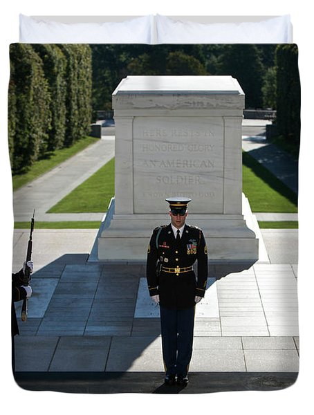 Duvet Cover featuring the photograph Changing Of Guard At Arlington National by Terry Moore
