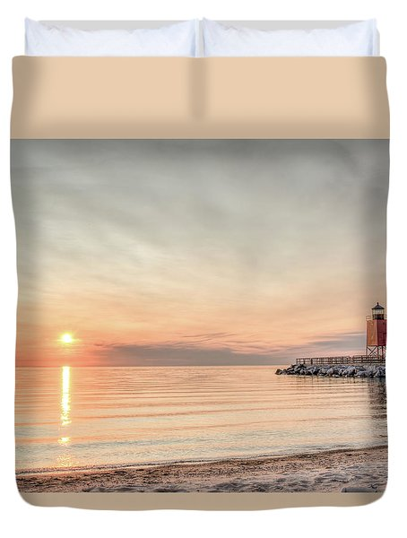 Duvet Cover featuring the photograph Charelvoix Lighthouse In Charlevoix, Michigan by Peter Ciro