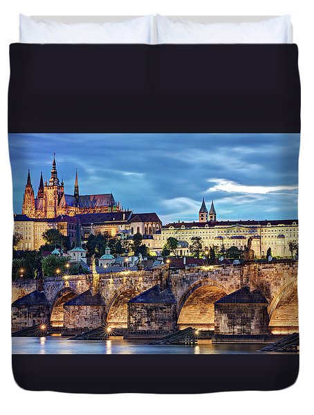 Duvet Cover featuring the photograph Charles Bridge And Prague Castle / Prague by Barry O Carroll