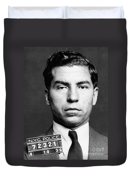Duvet Cover featuring the photograph Charles Lucky Luciano by Granger