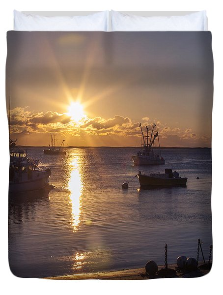 Duvet Cover featuring the photograph Chatham Sunrise by Charles Harden