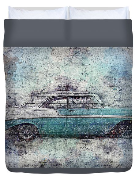 Duvet Cover featuring the photograph Chevy Bel Air by Joel Witmeyer