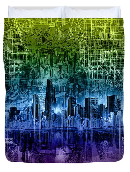 Chicago Skyline Abstract Duvet Cover