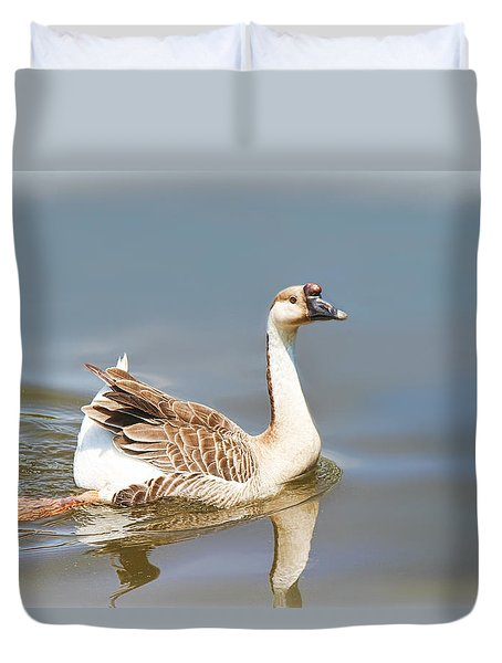 Duvet Cover featuring the painting Chinese Goose by Bonnie Willis