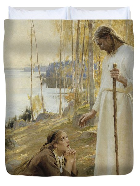 Christ And Mary Magdalene Duvet Cover