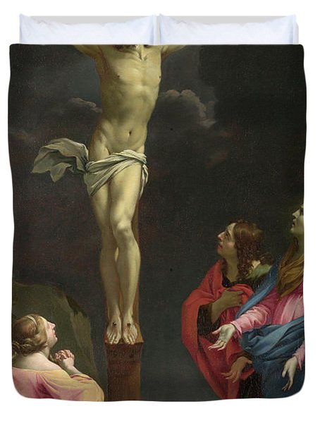 Christ On The Cross With The Virgin And Saints Duvet Cover