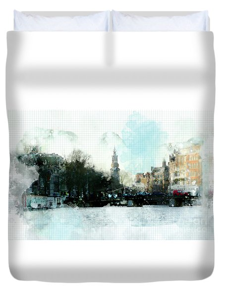 Duvet Cover featuring the digital art City Life In Watercolor Style by Ariadna De Raadt