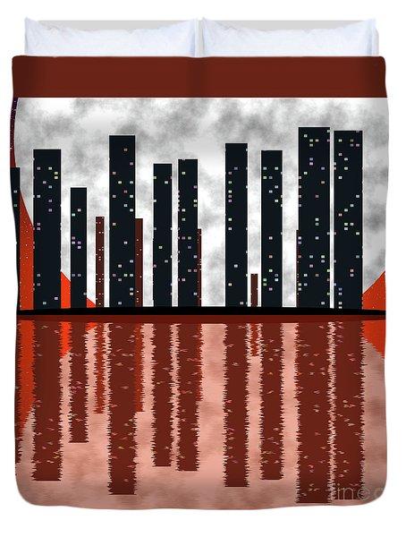 City Skyline At Full Moon Duvet Cover by Michal Boubin