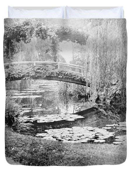 Claude Monet In His Garden At Giverny Duvet Cover