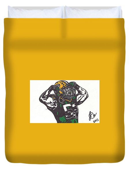 Duvet Cover featuring the drawing Clay Matthews 2 by Jeremiah Colley