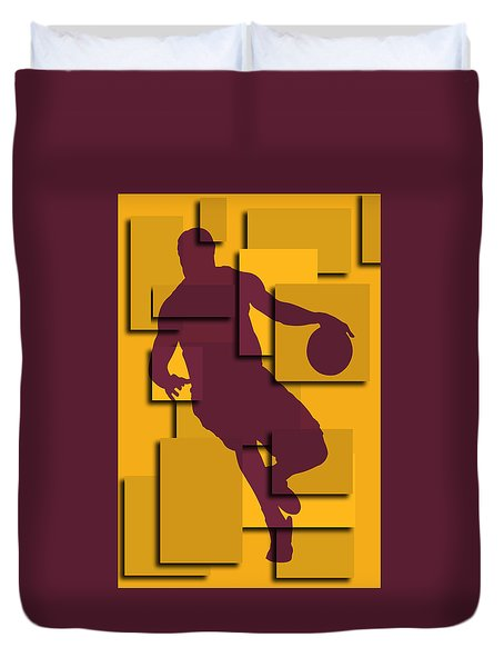 Cleveland Cavaliers Lebron James Duvet Cover by Joe Hamilton