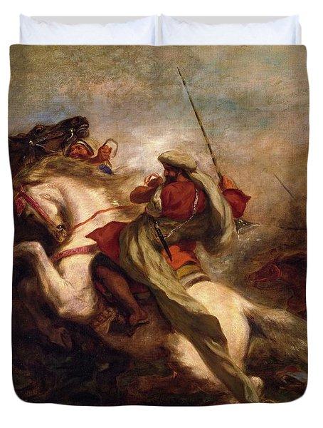 Duvet Cover featuring the painting Collision Of Moorish Horsemen by Eugene Delacroix