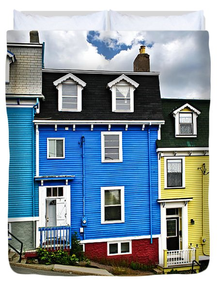 Colorful Houses In St. John's Newfoundland Duvet Cover