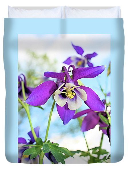 Duvet Cover featuring the photograph Columbine by Kristin Elmquist