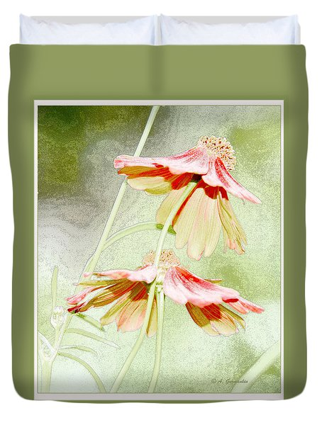 Duvet Cover featuring the digital art Coreopsis Flowers by A Gurmankin