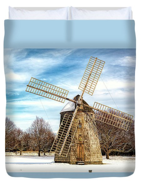 Duvet Cover featuring the photograph Corwith Windmill Long Island Ny Cii by Susan Candelario