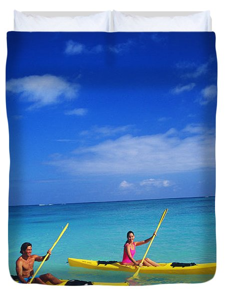 Couple Paddling Duvet Cover by Kyle Rothenborg - Printscapes