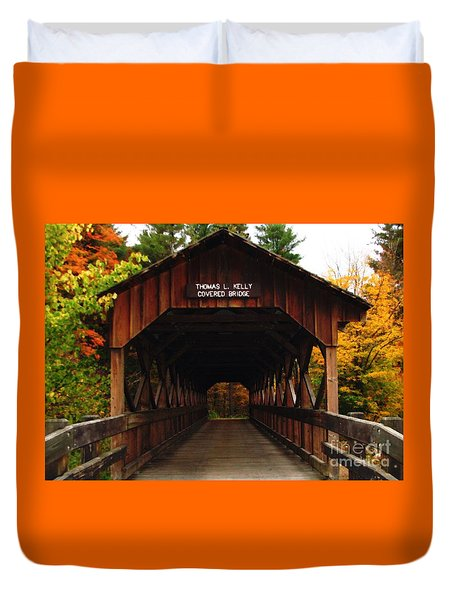 Duvet Cover featuring the photograph Covered Bridge At Allegany State Park by Rose Santuci-Sofranko