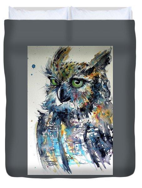 Duvet Cover featuring the painting Cute Owl by Kovacs Anna Brigitta