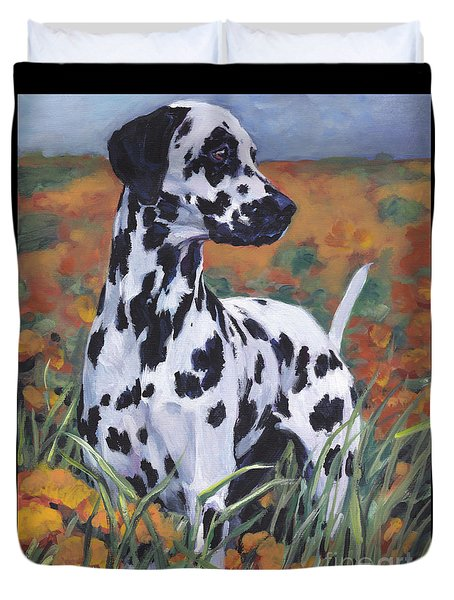 Duvet Cover featuring the painting Dalmatian by Lee Ann Shepard