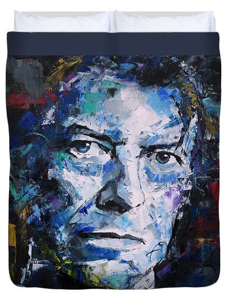Duvet Cover featuring the painting David Bowie by Richard Day