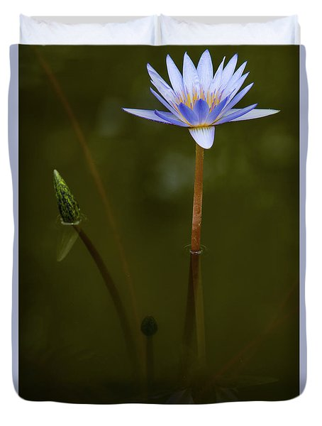 Deep Lily Reflection Duvet Cover