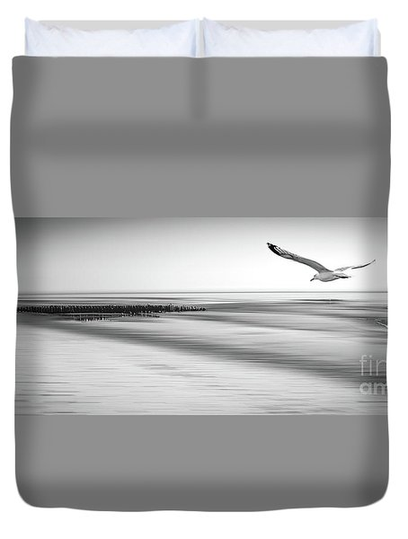 Duvet Cover featuring the photograph Desire Light Bw by Hannes Cmarits