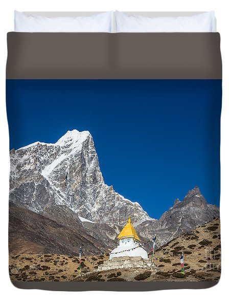 Dingboche Stupa In Nepal Duvet Cover