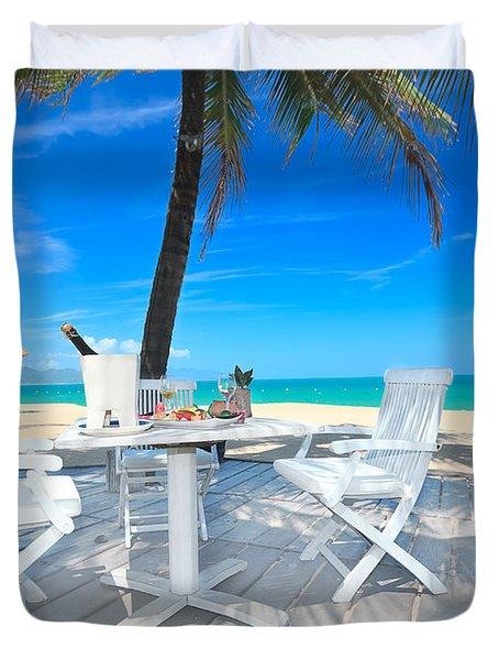 Dinner On The Beach Duvet Cover by MotHaiBaPhoto Prints