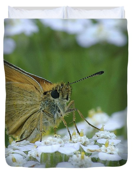 Dion Skipper Yarrow Blossoms Duvet Cover by Michael Peychich