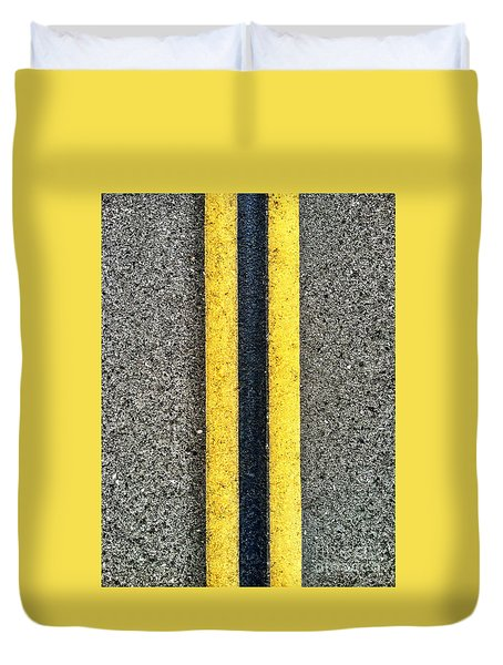 Double Yellow Road Lines Duvet Cover