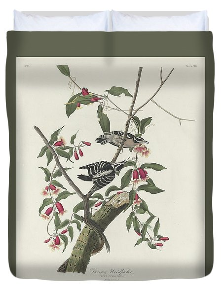 Downy Woodpecker Duvet Cover by Rob Dreyer