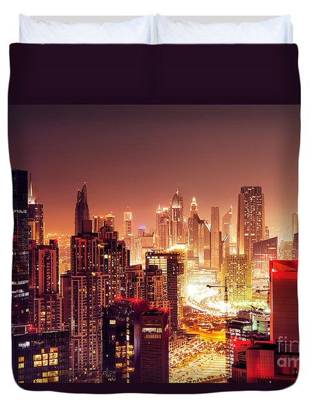 Dubai City At Night Duvet Cover