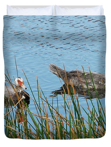 Duvet Cover featuring the photograph 2- Ducks by Joseph Keane