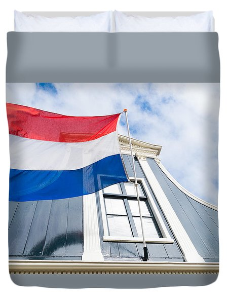 Duvet Cover featuring the photograph Dutch Flag by Hans Engbers