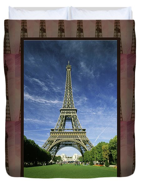 Duvet Cover featuring the photograph Effel Tower Paris France Landmark Photography Towels Pillows Curtains Tote Bags by Navin Joshi