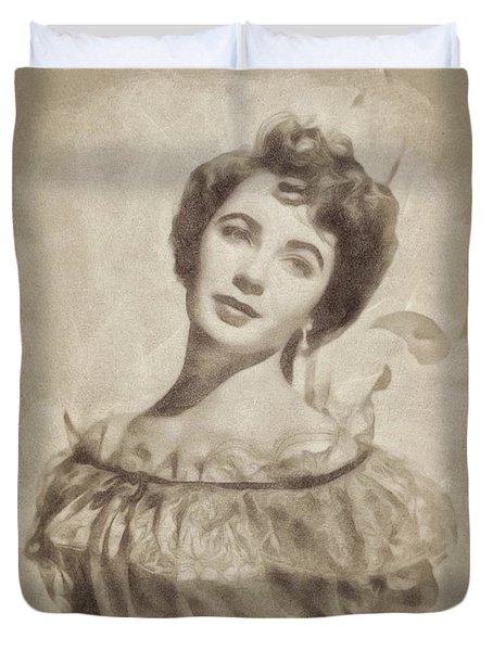 Elizabeth Taylor, Vintage Hollywood Legend By John Springfield Duvet Cover