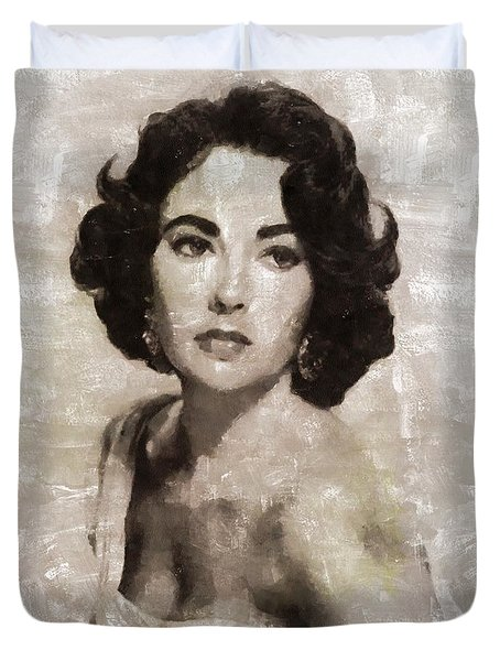 Elizabeth Taylor, Vintage Hollywood Legend By Mary Bassett Duvet Cover
